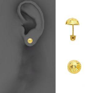 14k Yellow 6.5mm Half Ball Stud Earrings - Screw